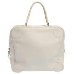 Hermes White Taurilion Clemence Leather Omnibus Bag