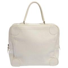 Hermes White Taurilion Clemence Leather Omnibus Bag