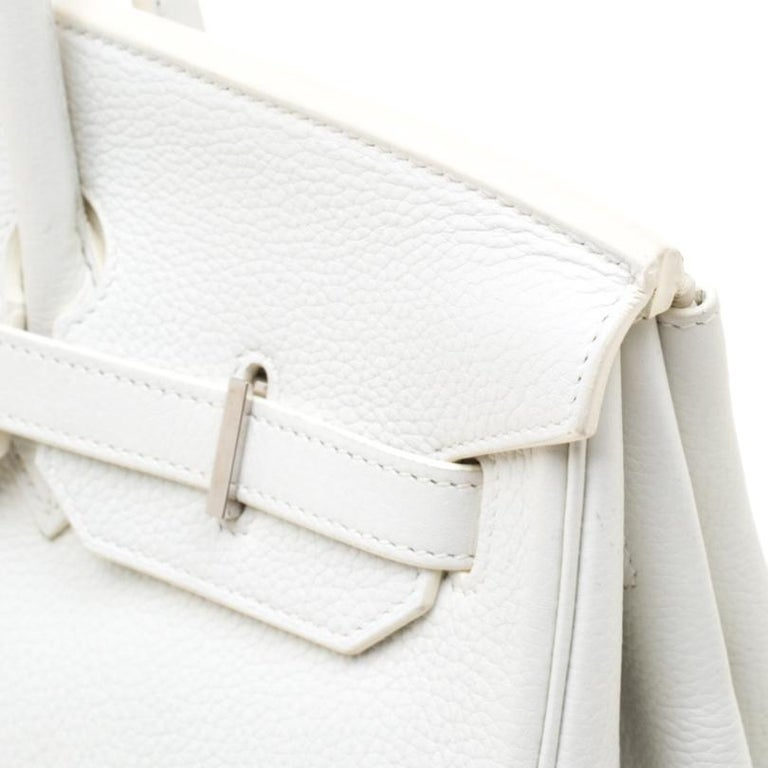 Hermes White Togo Leather Palladium Hardware Birkin 35 Bag For Sale 5