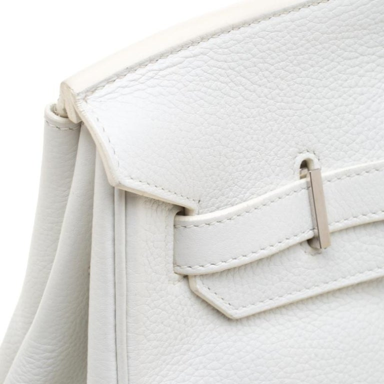Hermes White Togo Leather Palladium Hardware Birkin 35 Bag For Sale 6