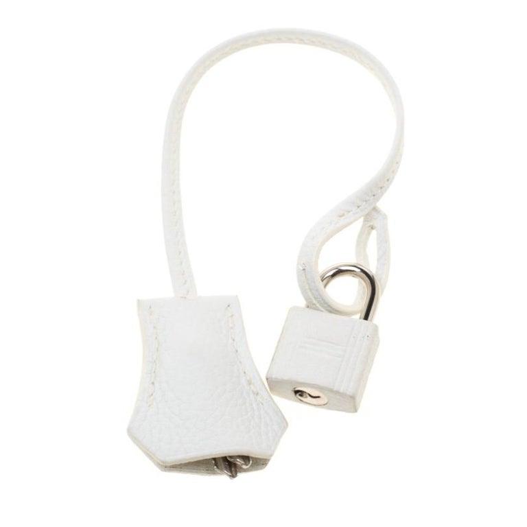 Hermes White Togo Leather Palladium Hardware Birkin 35 Bag For Sale 7