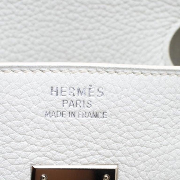 Hermes White Togo Leather Palladium Hardware Birkin 35 Bag For Sale 8