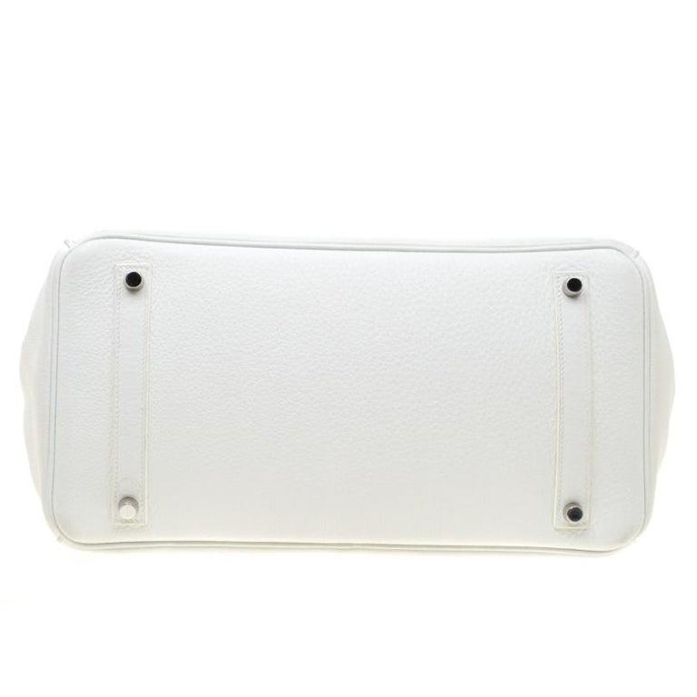 Hermes White Togo Leather Palladium Hardware Birkin 35 Bag For Sale 10