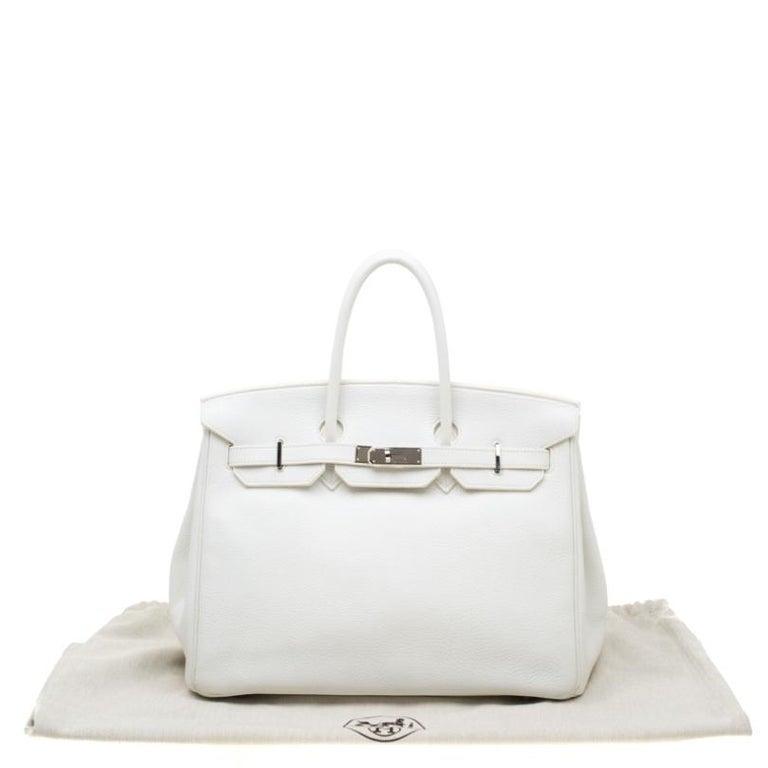 Hermes White Togo Leather Palladium Hardware Birkin 35 Bag For Sale 11