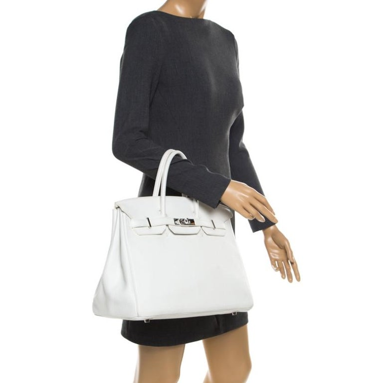 Gray Hermes White Togo Leather Palladium Hardware Birkin 35 Bag For Sale