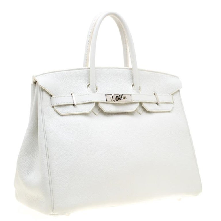 Hermes White Togo Leather Palladium Hardware Birkin 35 Bag In Good Condition For Sale In Dubai, Al Qouz 2