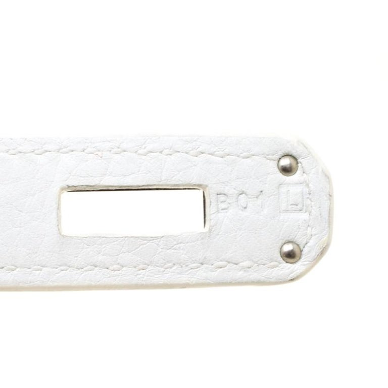 Women's Hermes White Togo Leather Palladium Hardware Birkin 35 Bag For Sale