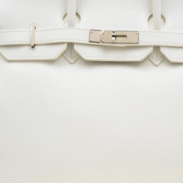 Hermes White Togo Leather Palladium Hardware Birkin 35 Bag For Sale 1