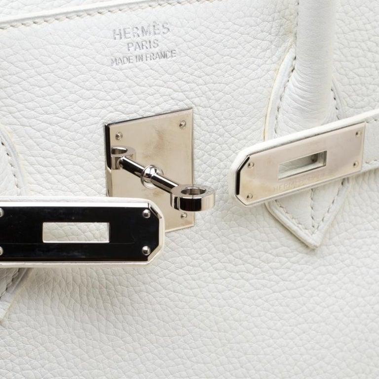 Hermes White Togo Leather Palladium Hardware Birkin 35 Bag For Sale 2