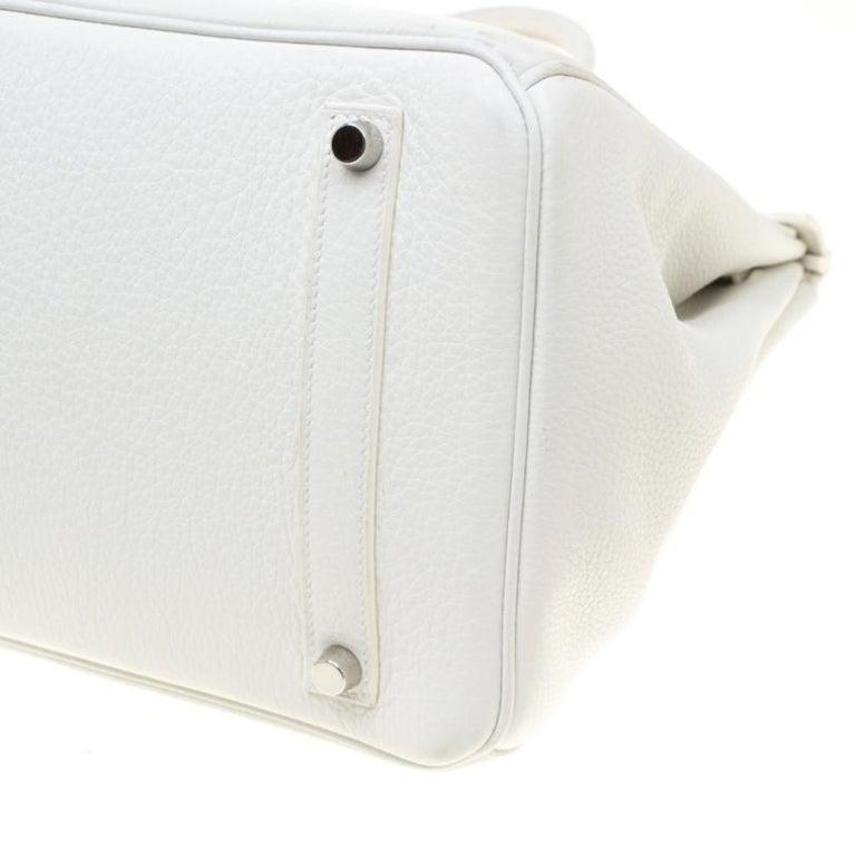 Hermes White Togo Leather Palladium Hardware Birkin 35 Bag For Sale 3
