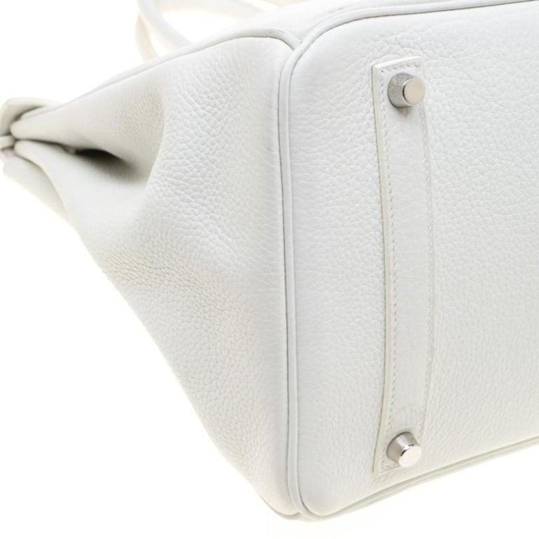 Hermes White Togo Leather Palladium Hardware Birkin 35 Bag For Sale 4