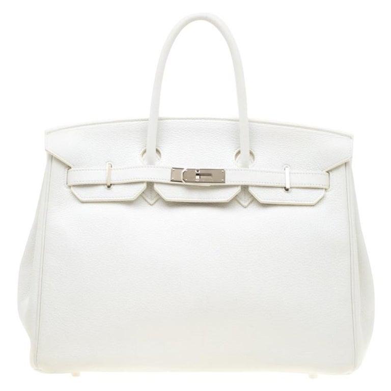 Hermes White Togo Leather Palladium Hardware Birkin 35 Bag For Sale