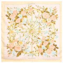 Hermes white yellow ROMANTIQUE 90 silk twill Scarf