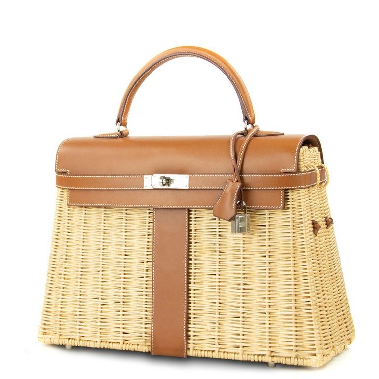Brown  Hermes Wicker Barenia Picnic Kelly Bag 35cm PHW For Sale