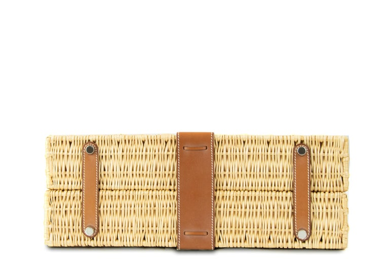 Hermes Wicker Barenia Picnic Kelly Bag 35cm PHW In Excellent Condition For Sale In Newport, RI