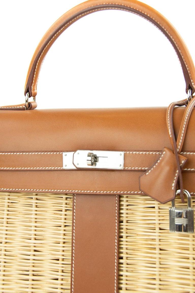 Women's or Men's  Hermes Wicker Barenia Picnic Kelly Bag 35cm PHW For Sale