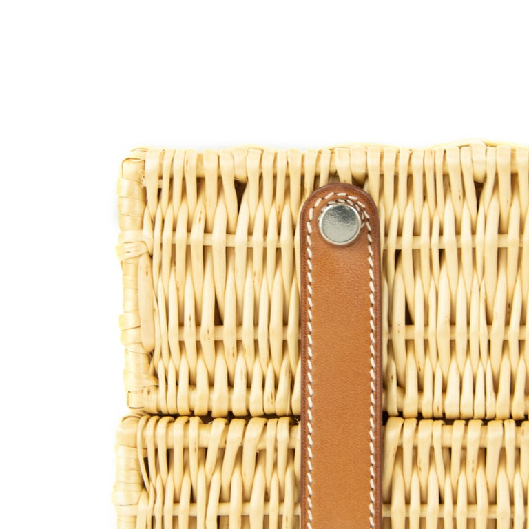 Hermes Wicker Barenia Picnic Kelly Bag 35cm PHW For Sale 2