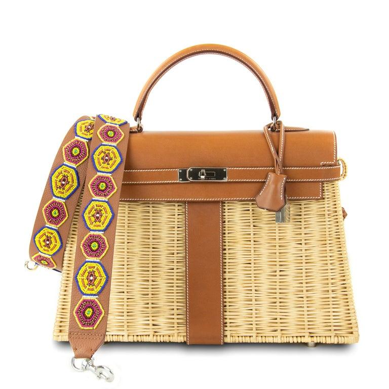 Hermes Wicker Barenia Picnic Kelly Bag 35cm PHW For Sale 4