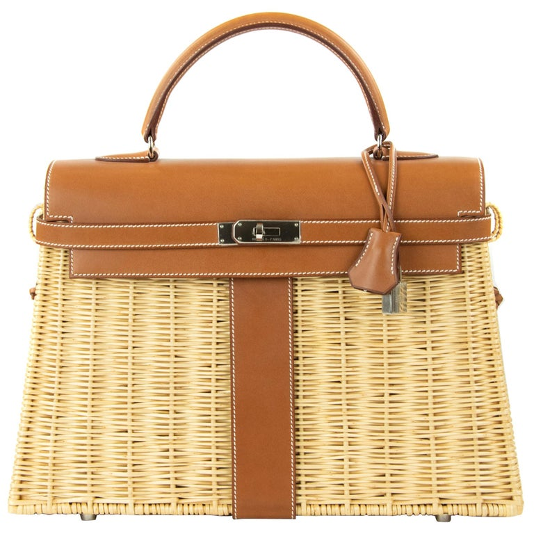 Hermes Wicker Barenia Picnic Kelly Bag 35cm PHW For Sale