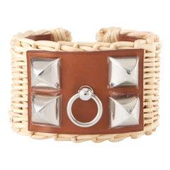 "Hermes Wicker ""Picnic"" Collier de Chien Bracelet with Silver Hardware"