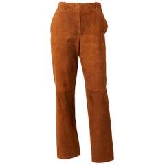 Hermes Wide Leg Suede Trouser