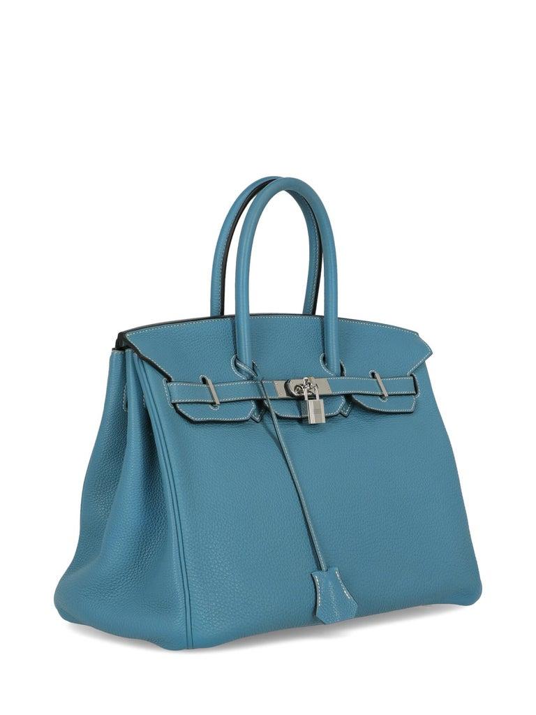 Hermes Woman Birkin 35 Blue  In Good Condition For Sale In Milan, IT