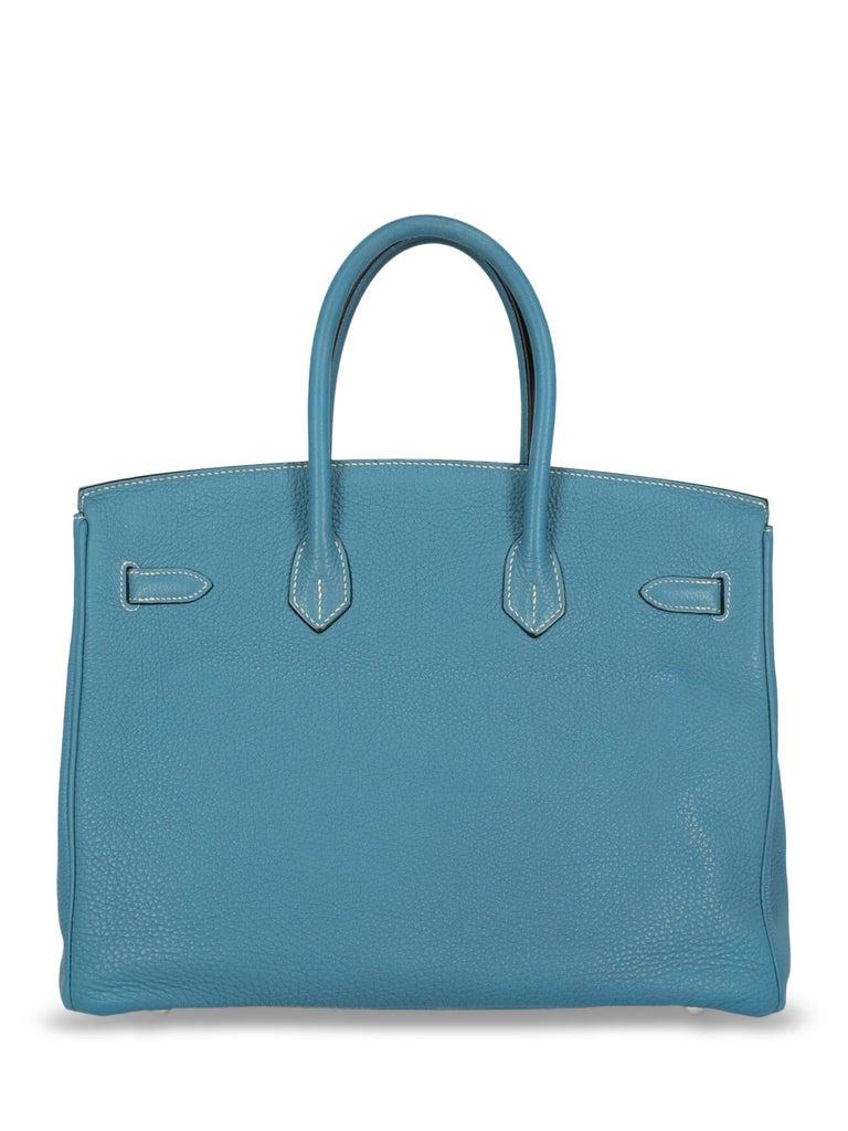 Women's Hermes Woman Birkin 35 Blue  For Sale