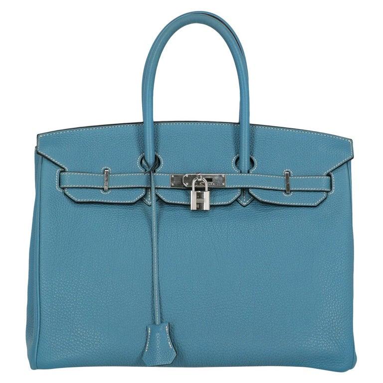 Hermes Woman Birkin 35 Blue  For Sale