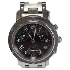 HERMES Woman Clipper Chrono Steel Watch