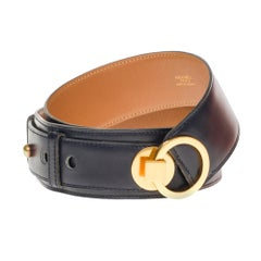 "Hermès women belt model ""Ring"" in calf navy leather, gold hardware"