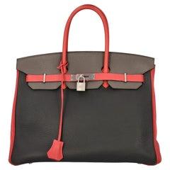 Hermès Women Handbags  Birkin 35 Black, Grey, Red Leather