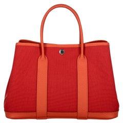 Hermes Women  Handbags Garden Party Orange Fabric