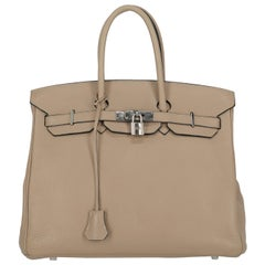 Hermes Women's Handbag Birkin 35 Grey Leather
