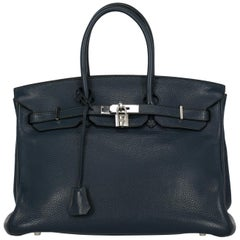 Hermes Women's Handbag Birkin 35 Navy Leather