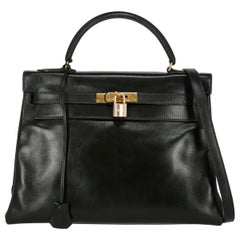 Hermes Women's Handbag Kelly 32 Black Leather