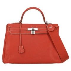 Hermes Women's Handbag Kelly 35 Red Leather
