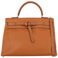 Hermes Women's Handbag Kelly Flat Brown Leather