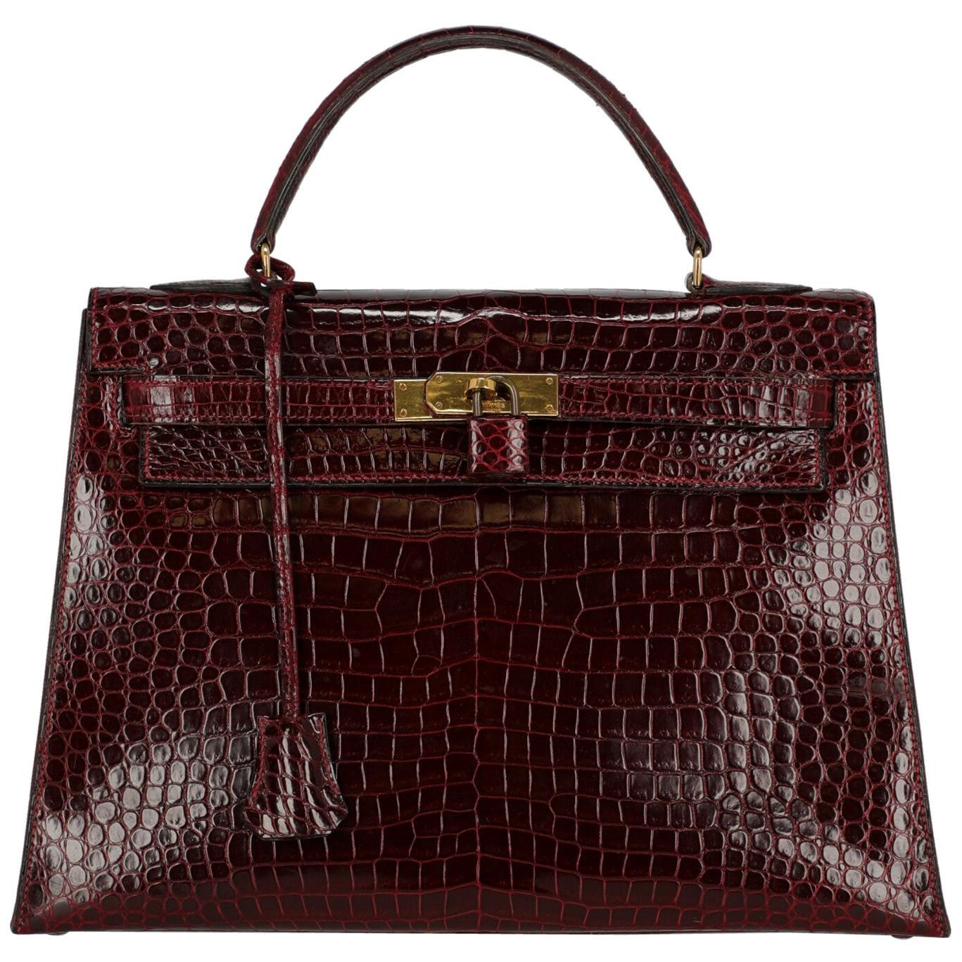 Hermès Women's Handbag Kelly32 Burgundy Leather