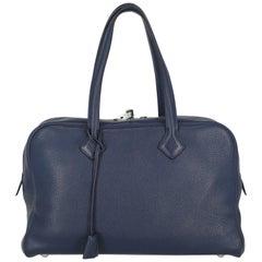 Hermès Women's Handbag Victoria Navy Leather