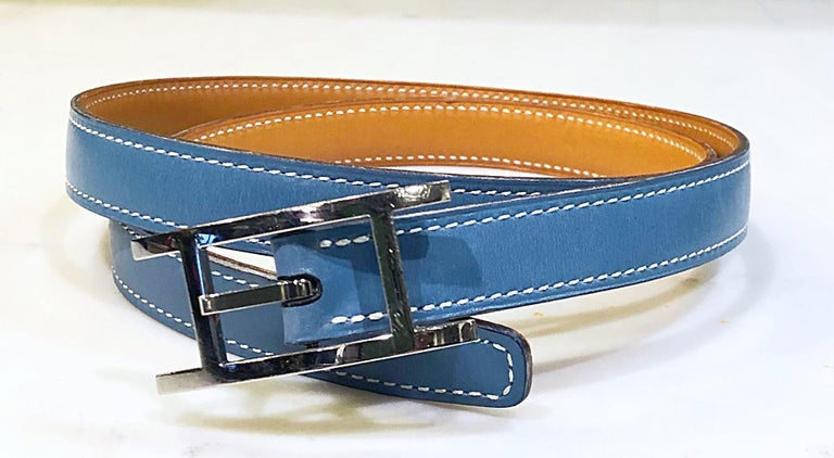 Hermes Women's Size 75 Light Blue + Silver Leather Quentin H Logo Thin Belt For Sale 7
