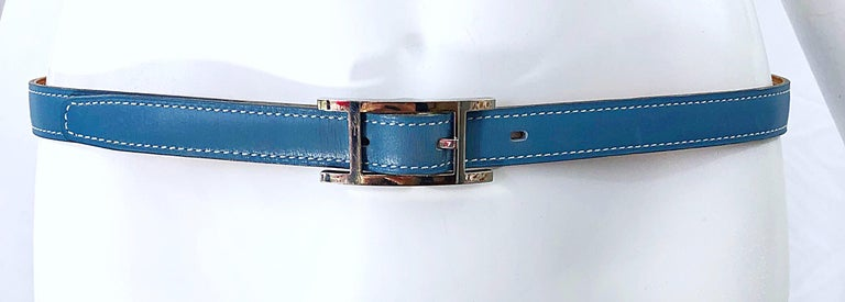 Hermes Women's Size 75 Light Blue + Silver Leather Quentin H Logo Thin Belt For Sale 8