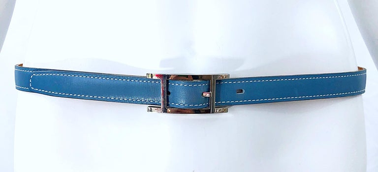 Hermes Women's Size 75 Light Blue + Silver Leather Quentin H Logo Thin Belt For Sale 9