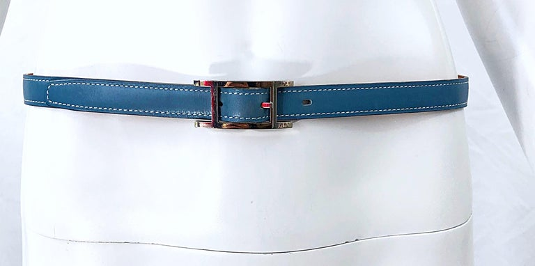 Timeless and effortlessly chic women's HERMES light blue leather 'Quentin' belt ! Light blue color goes great with everything, and is perfect for year round wear. Pair with white jeans, a skirt, or over a dress or top.  In great condition Made in