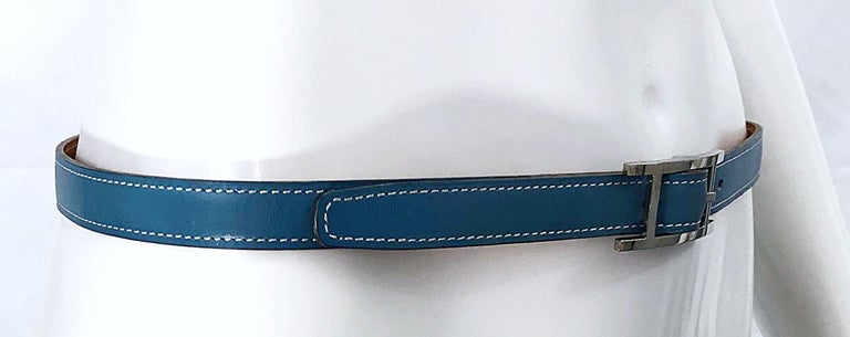 Hermes Women's Size 75 Light Blue + Silver Leather Quentin H Logo Thin Belt For Sale 1