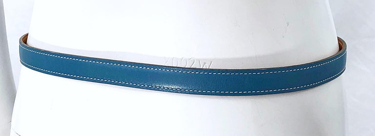 Hermes Women's Size 75 Light Blue + Silver Leather Quentin H Logo Thin Belt For Sale 2