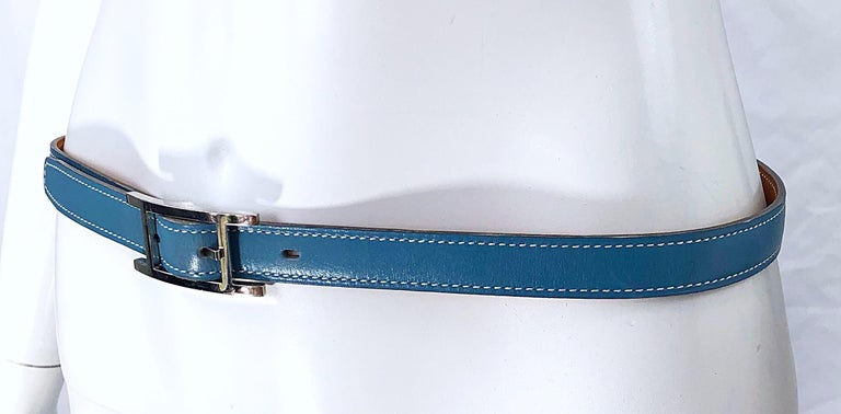 Hermes Women's Size 75 Light Blue + Silver Leather Quentin H Logo Thin Belt For Sale 3