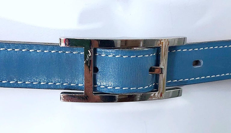 Hermes Women's Size 75 Light Blue + Silver Leather Quentin H Logo Thin Belt For Sale 4