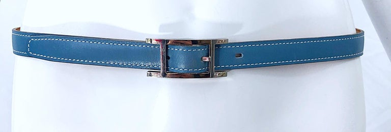 Hermes Women's Size 75 Light Blue + Silver Leather Quentin H Logo Thin Belt For Sale 5