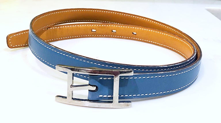 Hermes Women's Size 75 Light Blue + Silver Leather Quentin H Logo Thin Belt For Sale 6