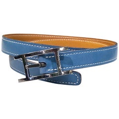Hermes Women's Size 75 Light Blue + Silver Leather Quentin H Logo Thin Belt